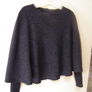 Zara Dark Grey Cape Knit Sweater Poncho Sz S